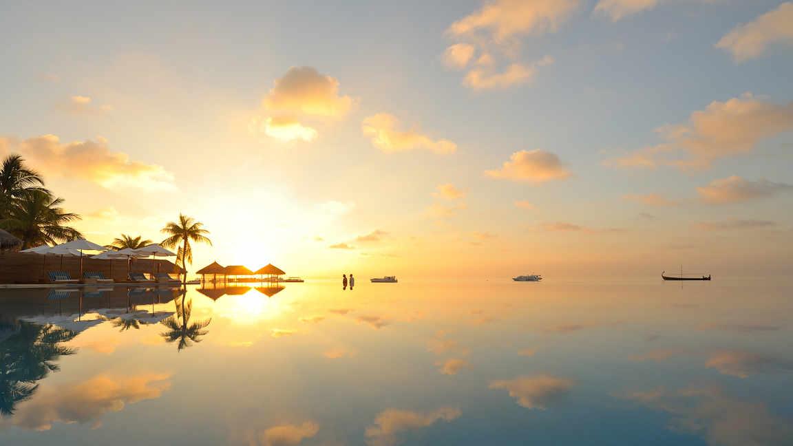 热带海水夕阳
